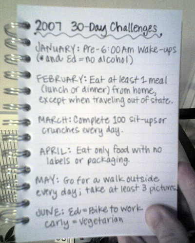 2007 30-Day Challenges