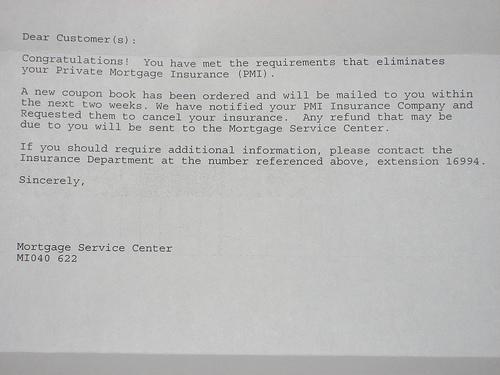 PMI Removal Letter