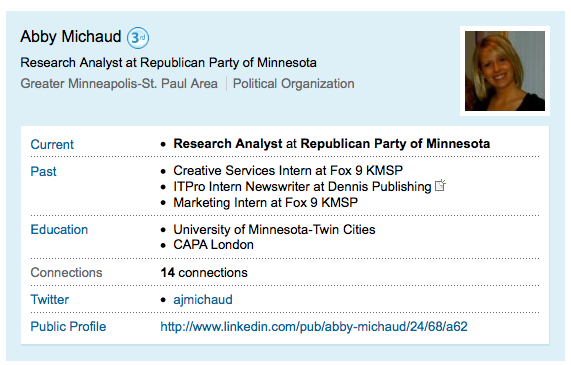 Abby Michaud's LinkedIn Profile in August 17, 2009