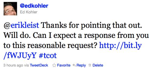 Another Tweet to Erik Leist