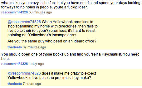 Yellowbook Employee Says I Need Psychiatric Help?