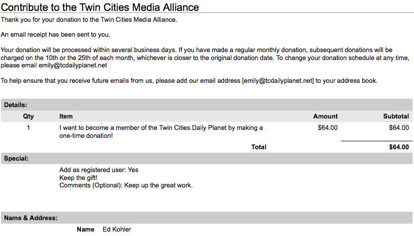 Donation of my Don Allen Ad Revenue to the TC Daily Planet