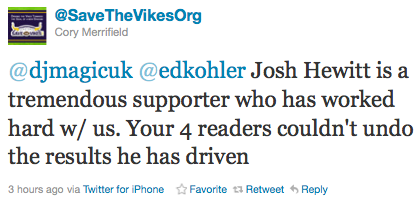@SaveTheVikesOrg Defends Josh Hewitt