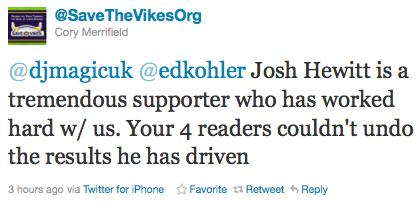 @SaveTheVikesOrg Defends Josh Hewitt