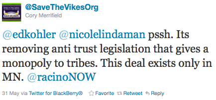Nicole Lindaman Retweets Pro Racino Position