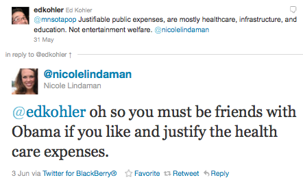 Nicole Lindaman Likes Corporate Welfare More than Healthcare