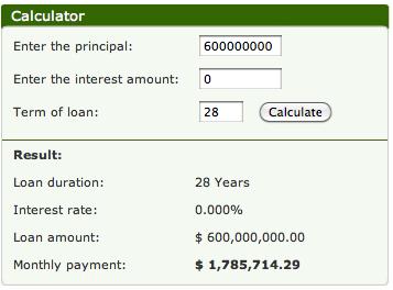 Zero Interest $600,000,000 Mortgage