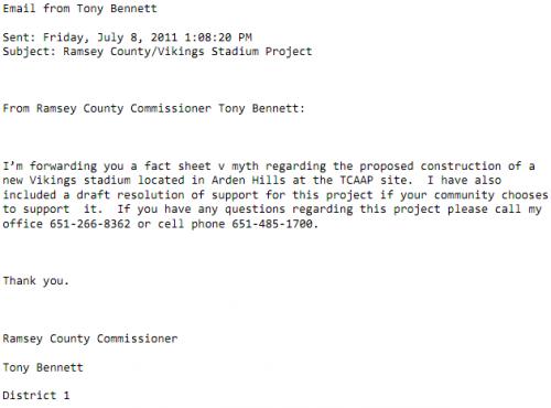 Tony Bennett's Pleading for Vikings Welfare Support from the City of Roseville