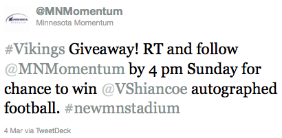 Minnesota Momentum Vikings Stadium Welfare Promotions