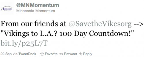 @MNMomentum Retweeting 100 Day Countdown to Los Angeles Tweet