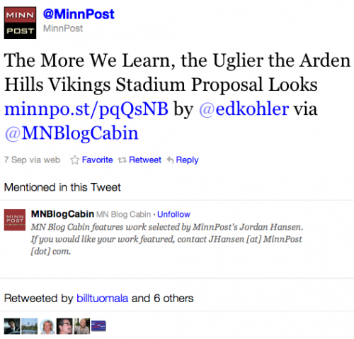 Retweets of Minnpost Arden Hills Vikings Wilfare Piece