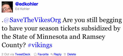 .@SaveTheVikesOrg Are you still begging to have your season tickets subsidized by the State of Minnesota and Ramsey County? #vikings