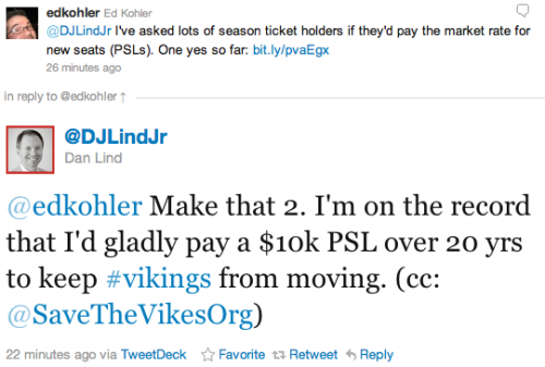 @edkohler Make that 2. I'm on the record that I'd gladly pay a $10k PSL over 20 yrs to keep #vikings from moving. (cc: @SaveTheVikesOrg)