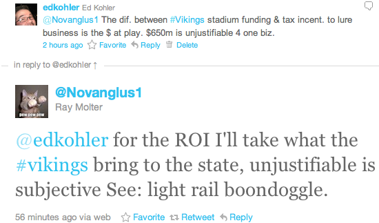 @edkohler for the ROI I'll take what the #vikings bring to the state, unjustifiable is subjective See: light rail boondoggle.