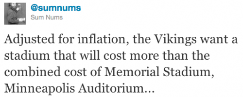 Adjusted for inflation, the Vikings want a stadium that will cost more than the combined cost of Memorial Stadium, Minneapolis Auditorium...