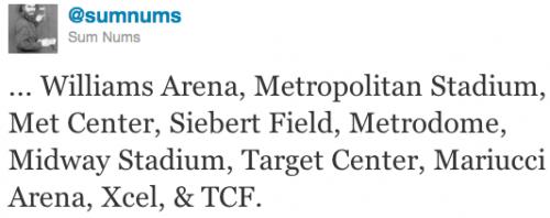 ... Williams Arena, Metropolitan Stadium, Met Center, Siebert Field, Metrodome, Midway Stadium, Target Center, Mariucci Arena, Xcel, & TCF.