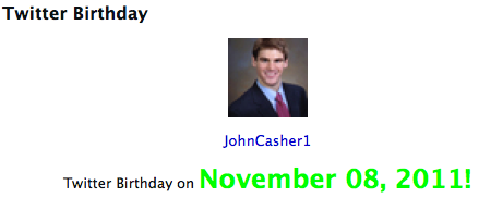 @johncasher1 Twitter Birthday