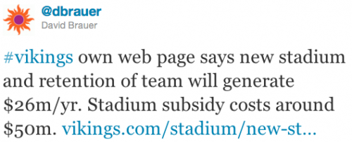 #vikings own web page says new stadium and retention of team will generate $26m/yr. Stadium subsidy costs around $50m.