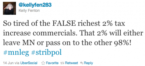 So tired of the FALSE richest 2% tax increase commercials. That 2% will either leave MN or pass on to the other 98%! #mnleg #stribpol