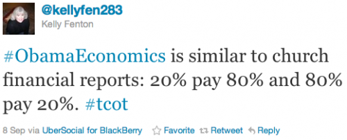 #ObamaEconomics is similar to church financial reports: 20% pay 80% and 80% pay 20%. #tcot