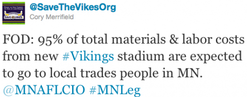 FOD: 95% of total materials & labor costs from new #Vikings stadium are expected to go to local trades people in MN. @MNAFLCIO #MNLeg
