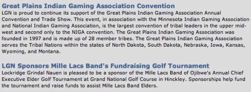 Great Plains Indian Gaming Association Conventionn & LGN Sponsors Mille Lacs Band's Fundraising Golf Tournament