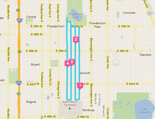 Powderhorn Park to St. Mary's Cemetery Running Route