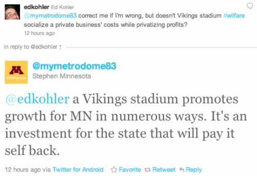 @edkohler a Vikings stadium promotes growth for MN in numerous ways. It's an investment for the state that will pay it self back.