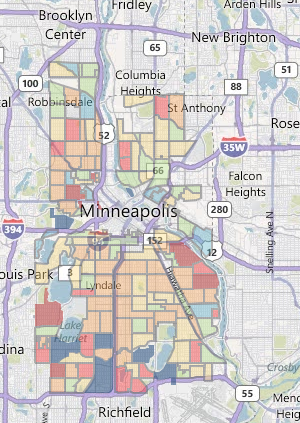 Minneapolis residential Pavement Condition Index