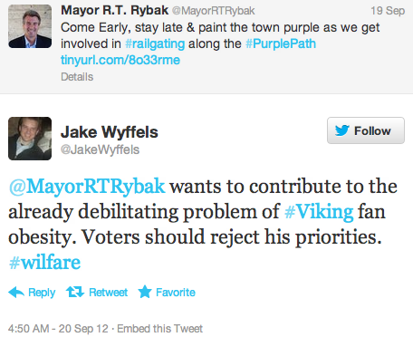 @MayorRTRybak wants to contribute to the already debilitating problem of #Viking fan obesity. Voters should reject his priorities. #wilfare