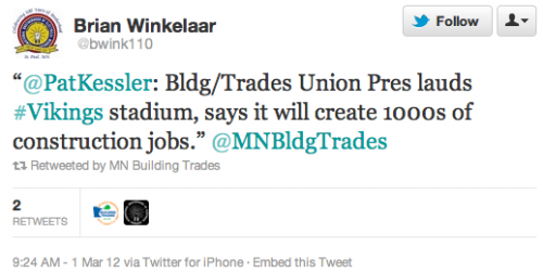 """@PatKessler: Bldg/Trades Union Pres lauds #Vikings stadium, says it will create 1000s of construction jobs."" @MNBldgTrades"