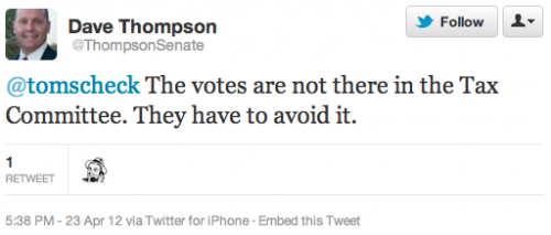 @tomscheck The votes are not there in the Tax Committee. They have to avoid it.
