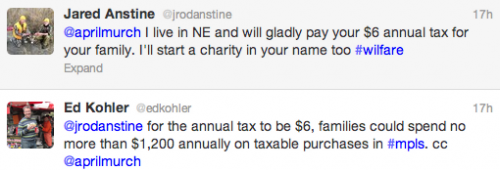 @jrodanstine for the annual tax to be $6, families could spend no more than $1,200 annually on taxable purchases in #mpls. cc @aprilmurch