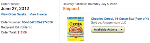 Cheerios at Amazon