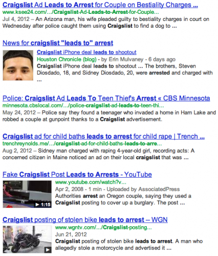 Craigslist leads to arrest headlines