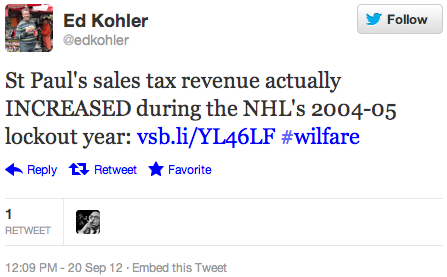 St Paul's sales tax revenue actually INCREASED during the NHL's 2004-05 lockout year: http://vsb.li/YL46LF  #wilfare