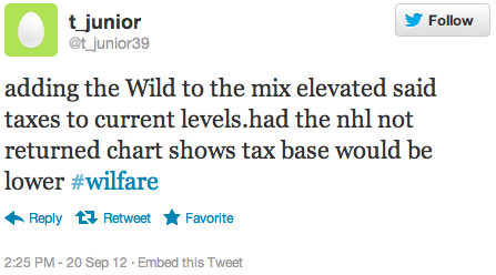 adding the Wild to the mix elevated said taxes to current levels.had the nhl not returned chart shows tax base would be lower #wilfare