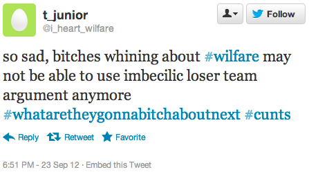 so sad, bitches whining about #wilfare may not be able to use imbecilic loser team argument anymore #whataretheygonnabitchaboutnext #cunts