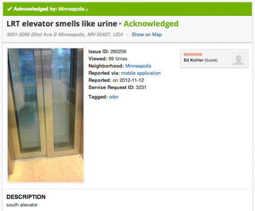 LRT elevator smells like urine