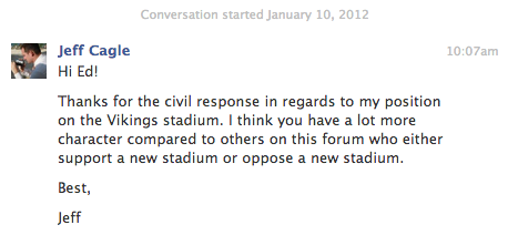 Jeff Cagle on Vikings Stadium Debate