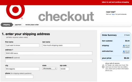 Target.com Checkout