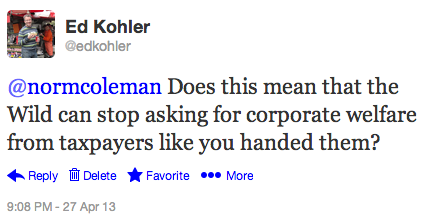@normcoleman Does this mean that the Wild can stop asking for corporate welfare from taxpayers like you handed them?