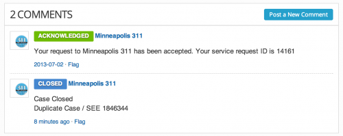 Closed 311 report due to Duplicates