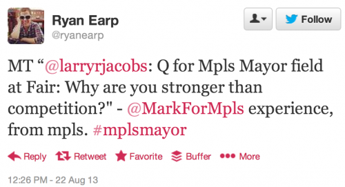 "MT ""@larryrjacobs: Q for Mpls Mayor field at Fair: Why are you stronger than competition?"" - @MarkForMpls experience, from mpls. #mplsmayor"