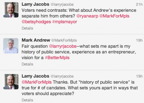 "@MarkForMpls Thanks. But ""history of public service"" is true for # of candates. What sets yours apart in ways that voters should appreciate?"