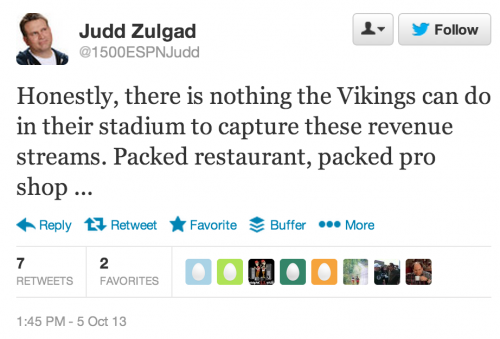 Honestly, there is nothing the Vikings can do in their stadium to capture these revenue streams. Packed restaurant, packed pro shop ...