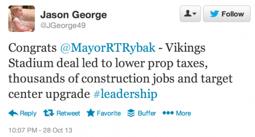 Congrats @MayorRTRybak - Vikings Stadium deal led to lower prop taxes, thousands of construction jobs and target center upgrade #leadership