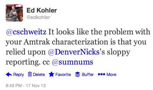 @cschweitz It looks like the problem with your Amtrak characterization is that you relied upon @DenverNicks's sloppy reporting. cc @sumnums