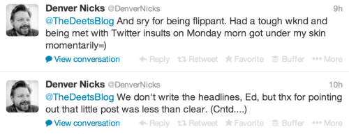 Denver Nicks' Responses