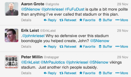 .@johnkriesel Why so defensive over this stadium boondoggle you helped create, John? @SNienow